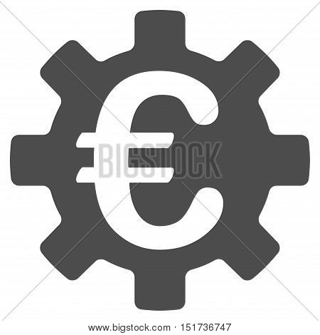 Euro Machinery Gear icon. Vector style is flat iconic symbol, gray color, white background.
