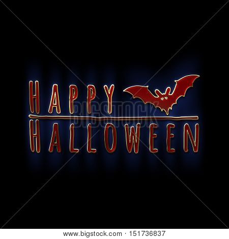 Happy Halloween lettering greeting card. Horizontal banner with a black bat isolated on the black background. Cartoon style. 3D illustration. Gold red glass and enamel texture with a blue backlight.