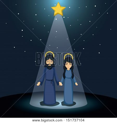 Mary and jesus cartoon icon. Holy family and merry christmas season theme. Colorful design. Vector illustration