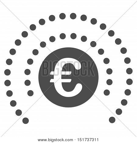 Euro Shield Sphere icon. Vector style is flat iconic symbol, gray color, white background.