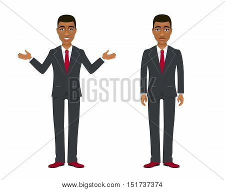 Young Afro American Businessman In Suit In Two Different  Poses And Emotions. Vector Cartoon Charact