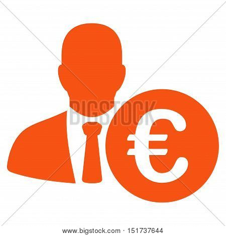 Euro Banker icon. Vector style is flat iconic symbol, orange color, white background.