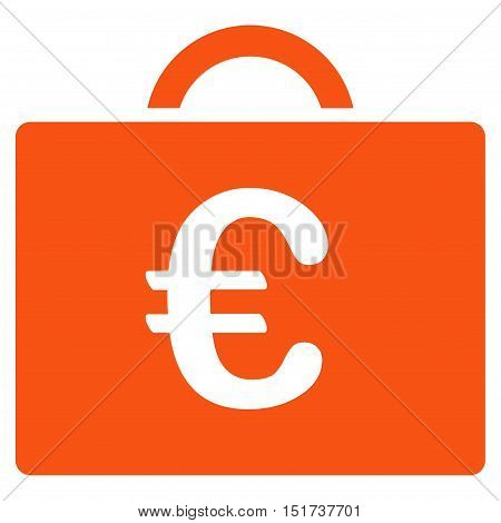 Euro Bookkeeping Case icon. Vector style is flat iconic symbol, orange color, white background.