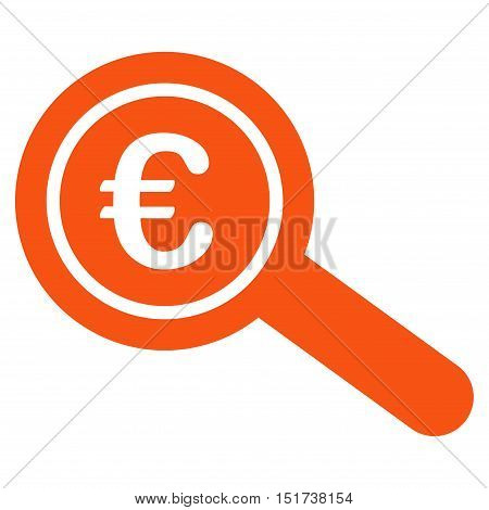 Euro Financial Audit icon. Vector style is flat iconic symbol, orange color, white background.