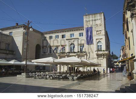ZADAR CROATIA - JULY 12 2016: Street view near st. Donatus church in Zadar famous landmark of Croatia adriatic region of Dalmatia