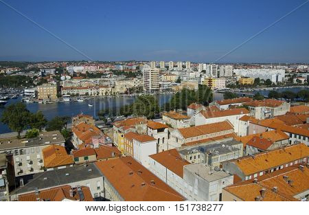 ZADAR CROATIA - JULY 12 2016: Zadar city from tower old parts of town situated on the waterfront. Zadar is famous tourist spot at Adriatic sea coast in Dalmatia.