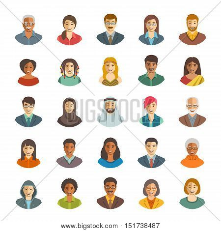 People faces avatars vector icons. Flat color portraits of happy men and women young and senior. Caucasian African Asian Arab ethnicity. Characters with different lifestyles hairstyles clothes