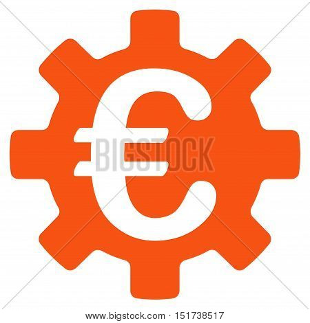 Euro Machinery Gear icon. Vector style is flat iconic symbol, orange color, white background.