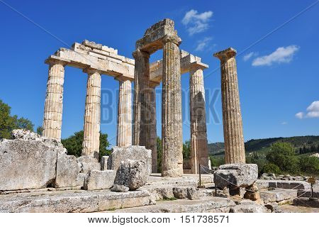Pillars of the temple of Zeus in the ancient Nemea Greece