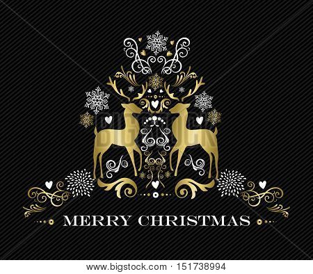 Gold Merry Christmas Design Of Ornament Reindeer