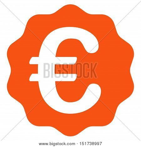 Euro Reward Seal icon. Vector style is flat iconic symbol, orange color, white background.