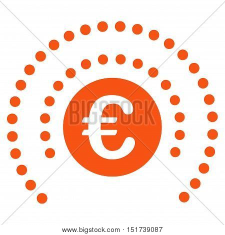 Euro Shield Sphere icon. Vector style is flat iconic symbol, orange color, white background.