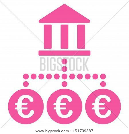 Euro Bank Transactions icon. Vector style is flat iconic symbol, pink color, white background.