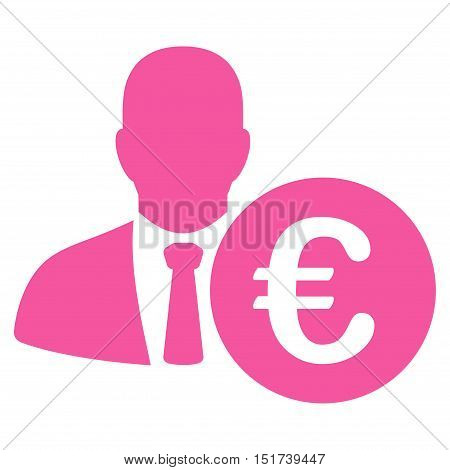 Euro Banker icon. Vector style is flat iconic symbol, pink color, white background.