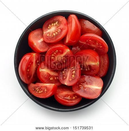 Bowl Of Tomatoes Isolated On White, From Above
