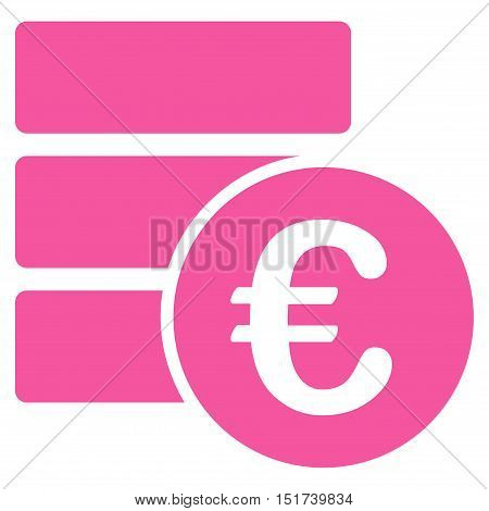 Euro Database icon. Vector style is flat iconic symbol, pink color, white background.