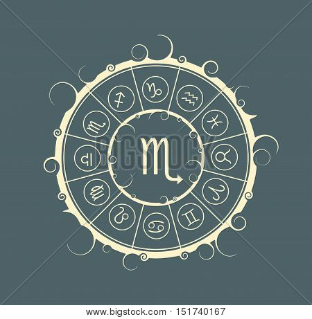 Astrological symbols in the circle. Vector illustration. Scorpion sign