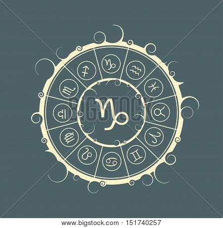 Astrological symbols in the circle. Vector illustration. Capricorn sign
