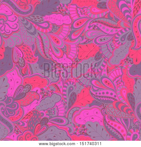 Seamless abstract hand-drawn waves pattern. Purple colored