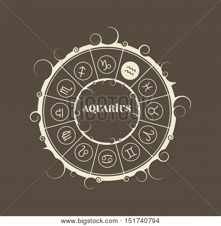 Astrological symbols in the circle. Vector illustration. Water bearer sign