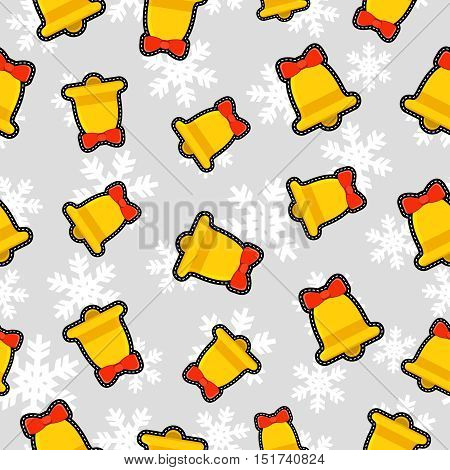 Christmas Bell Patch Icon Pattern Background