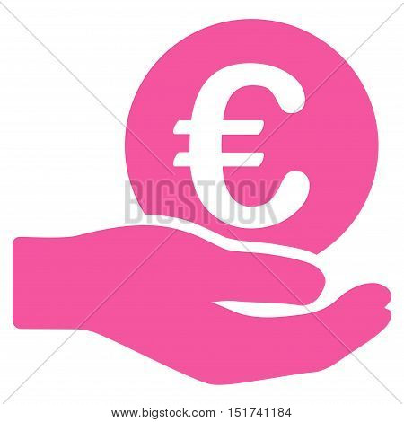 Euro Salary icon. Vector style is flat iconic symbol, pink color, white background.