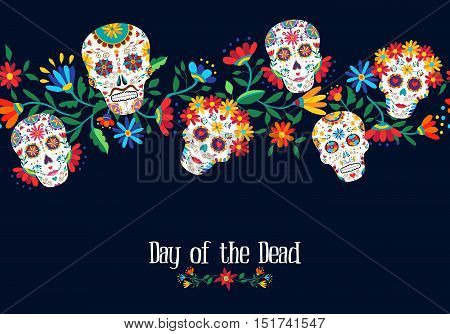 Day Of The Dead Flower Skull Background Design