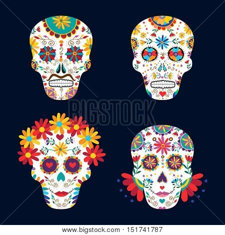Day Of The Dead Skulls For Mexican Celebration