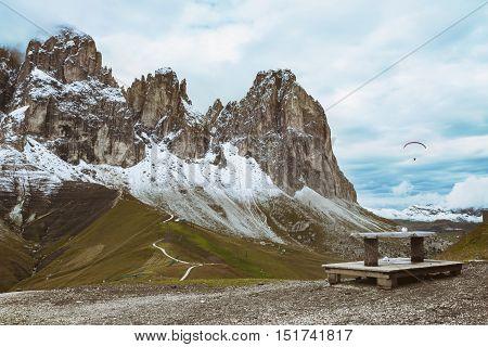 view of Sassolungo Langkofel at Dolomites Italy.