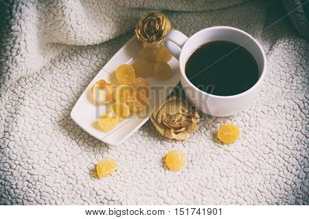 A Cup Of Coffee, White Cup And Saucer White, Fruit Jelly On A Plate