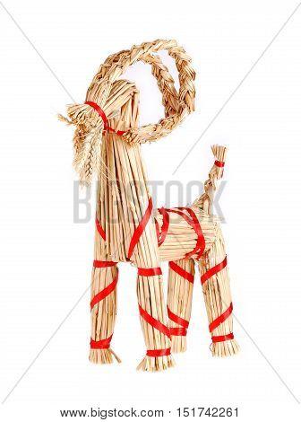 Traditional Swedish Christmas decoration a Christmas goat isolated on white
