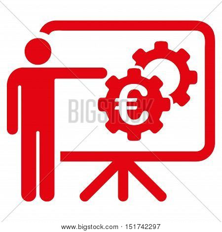 Euro Industrial Project Presentation icon. Vector style is flat iconic symbol, red color, white background.