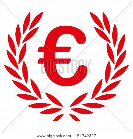 Euro Laurel Wreath icon. Vector style is flat iconic symbol, red color, white background.