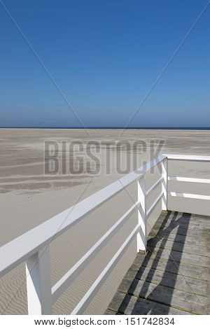 Famous sea cottage on the sandbar the Vliehors on the wadden Island Vlieland in the Netherlands