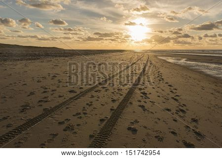 Traces in the North Sea Beach of the island Vlieland in the Netherlands
