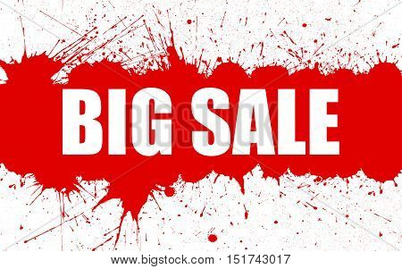 Vector Big Sale Banner With Bright Ink Red Color Blots over white Background. Each element separate on layers for easy use and recolor. Background for business, sale, trade and other promo designs.