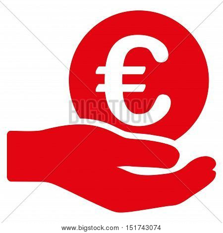 Euro Salary icon. Vector style is flat iconic symbol, red color, white background.