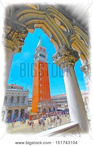 Venice - Piazza San Marco and Kampanila. View from the Doge's Palace. Vector color drawing