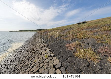Dike on the island of Vlieland near the village Oost-Vlieland in the Netherlands