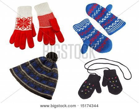 Knitted Gloves And Hat