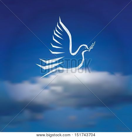 vector illustration with dove with olive branch on cloudy sky, peaceful background