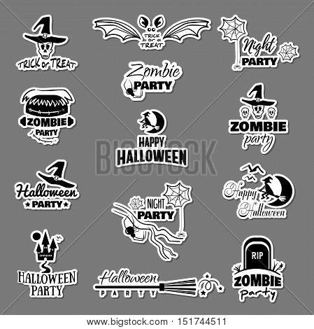 Set of decorative Halloween stickers. Black stickers isolated on gray background. Elements of design for Halloween. Vector illustration