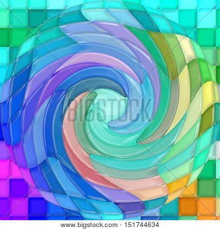 Abstract coloring background of the pastels gradient with visual mosaic, spherize, plastic wrap and twirl effects