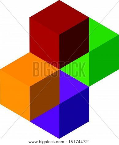 Icon Of Multicolor Isometric Cubes. Cube Stack Logo.