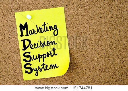 Mdss Marketing Decision Support System Written On Yellow Paper Note