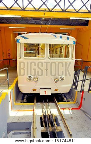 Barcelona 18/08/2013. funicular that connects Barcelona to Mount Tibidabo. This ancient funicular railway, opened in 1901, was built in just over a year, it remains to this day, one of the historic transport of Barcelona, has a percorenza of 1130m with a