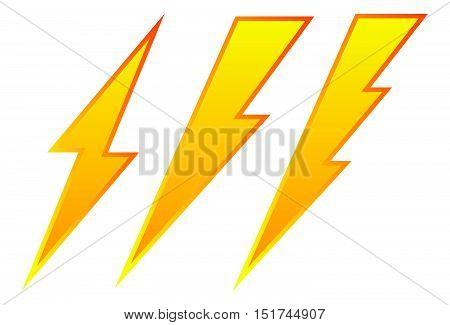 Set Of 3 Lighting Bolt, Spark Icon. Electricity Signs.