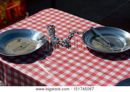 two dinner plate on chain Polish PRL style