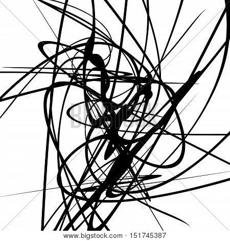 Squiggle Dynamic Lines. Curvy Lines Geometric Monochrome Illustration, Art