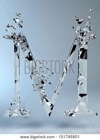 3D illustration  isolated broken glass capital letter M